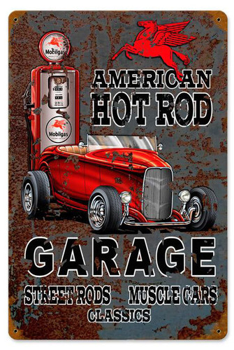 Hot Rod Mobile Gas Metal Sign 12 x 18 Inches