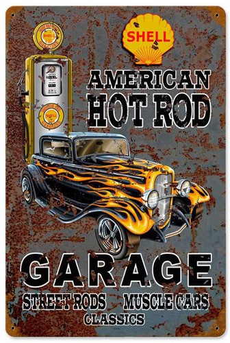 Hot Rod Shell Gas Metal Sign 12 x 18 Inches