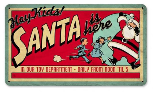 Vintage Santa Toy Dept Metal Sign   8 x 12 Inches