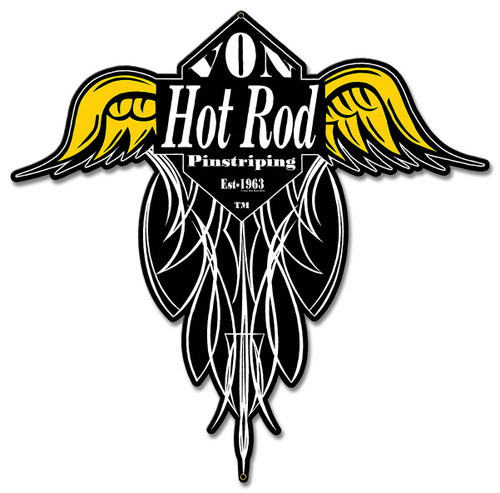Von Hot Rod Wings Pinstriping Metal Sign 16 x 15 Inches