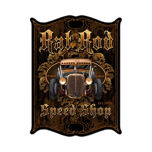 Rat Rod Metal Sign 14 x 19 Inches
