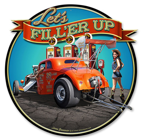 Filler Up Metal Sign 17 x 17 Inches