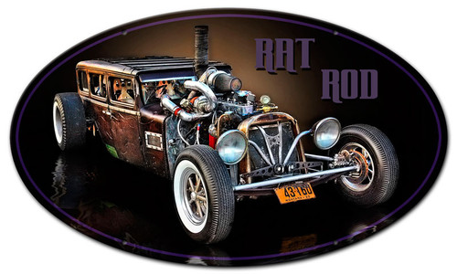 Montana Rat Rod Oval Metal Sign 24 x 14 Inches
