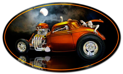 Skull Rat Rod Metal Sign 24 x 14 Inches