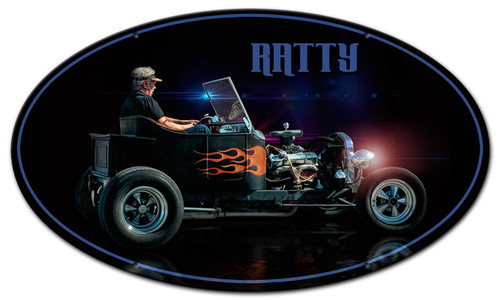 Ratty Rat Rod Oval Metal Sign 24 x 14 Inches