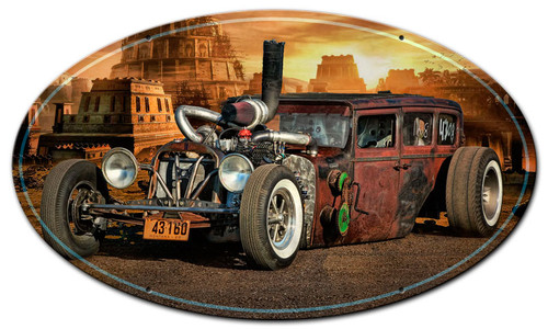 Rat Rod City Oval Metal Sign 24 x 14 Inches