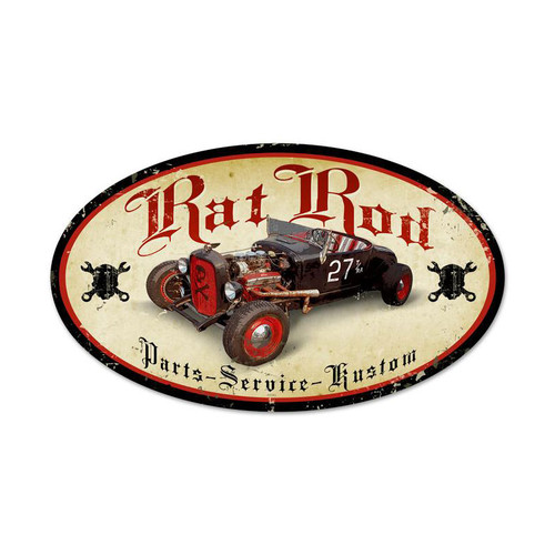Rat Rod Metal Sign 24 x 14 Inches