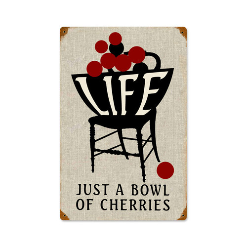 Life Bowl Cherries Metal Sign 12 x 18 Inches