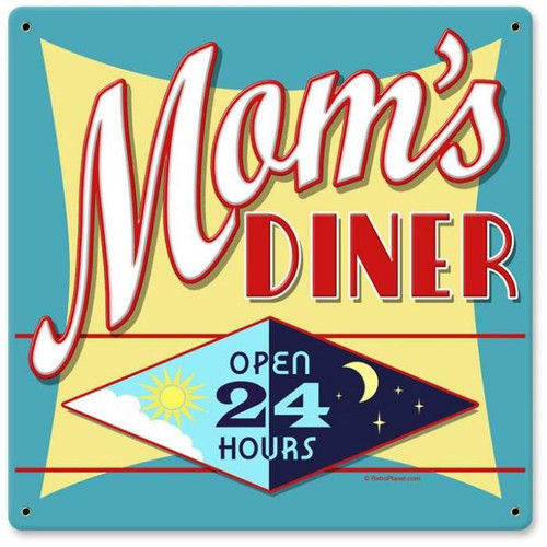 Retro Mom's Diner Metal Sign   12 x 12 Inches