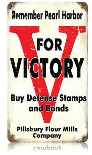 V For Victory Metal Sign 8 x 14 Inches
