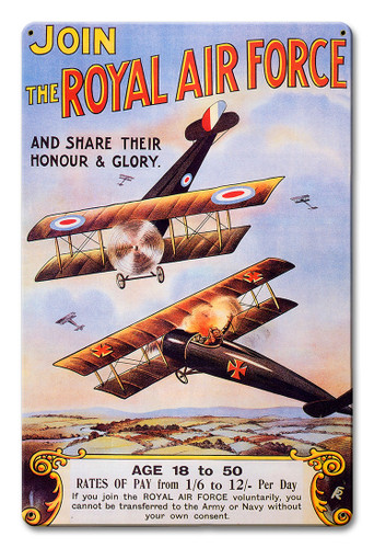 The Royal Air Force Metal Sign 12 x 18 Inches