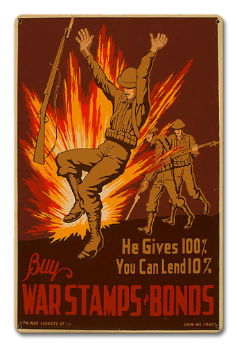 Buy War Stamps Bonds Metal Sign 18 x 12 Inches