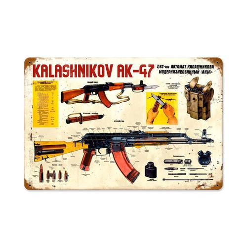 Kalashnikov Ak-47 Metal Sign 18 x 12 Inches