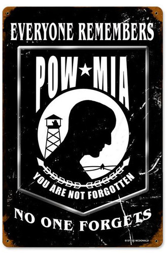 Pow Black Metal Sign 12 x 18 Inches