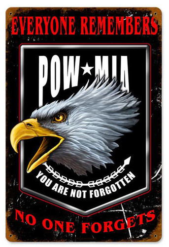Pow Mia Metal Sign 12 x 18 Inches