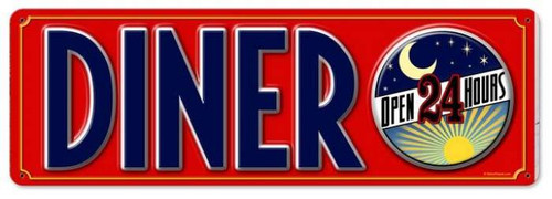 Vintage Diner 24 Hours Metal Sign 8 x 24  Inches