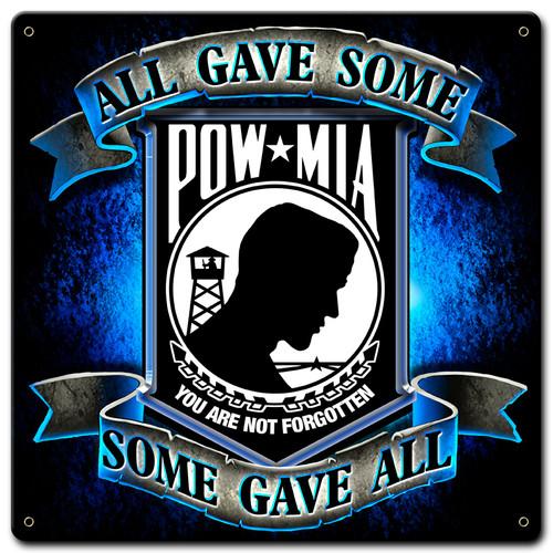 Pow Mia Metal Sign 12 x 12 Inches