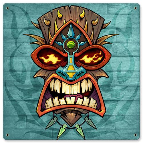 Tiki Head 2 Metal Sign 12 x 12 Inches
