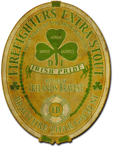 Ireland Firefighter Metal Sign 12 x 16 Inches