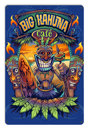 Big Kahuna Tiki Metal Sign 18 x 12 Inches