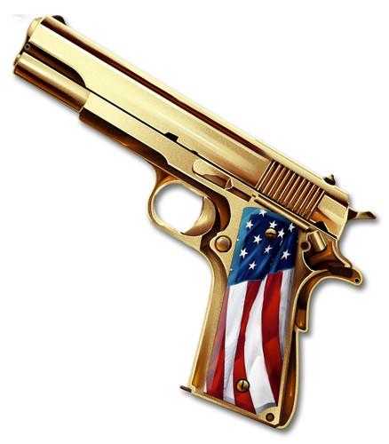 Golden Gun Metal Sign 16 x 14 Inches