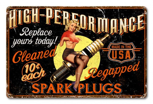 Spark Plug High Performance Metal Sign 18 x 12 Inches