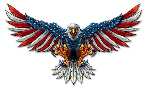 Eagle With Us Flag Wings Spread Metal Sign 21 x 12 Inches