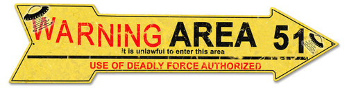 Area 51 Arrow Metal Sign 34 x 8 Inches