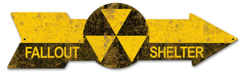 Fallout Shelter Circle Arrow Metal Sign 34 x 9 Inches