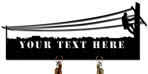 Lineman Key Holder Personalized Cut Out Metal Sign 21 x 7 Inches
