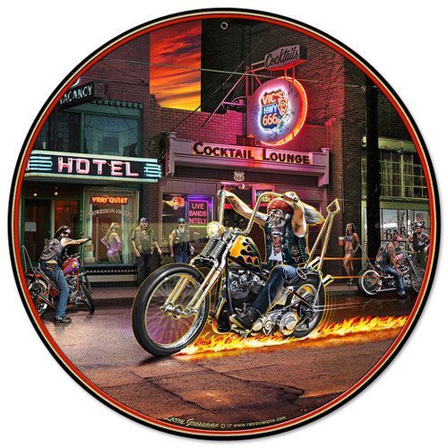 Highway To Hell Metal Sign 14 x 14 Inches