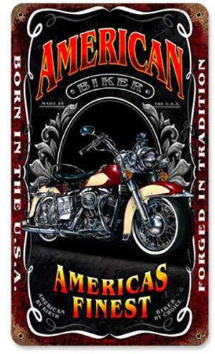 American Biker Metal Sign 8 x 14 Inches