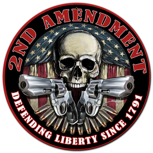 2nd Amendment Defending Liberty Metal Sign 14 x 14 Inches