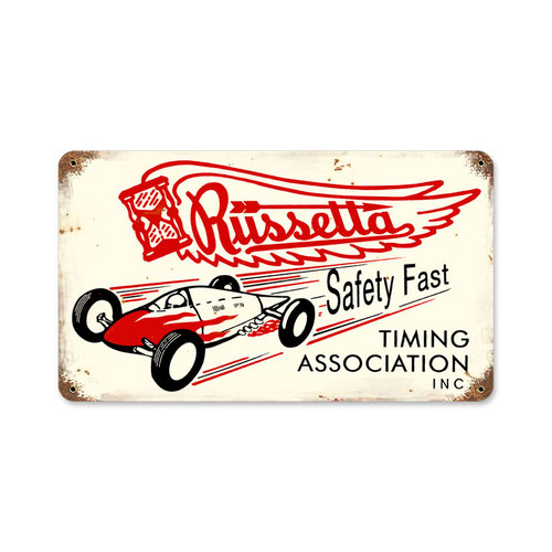 Russetta Timing Metal Sign 14 x 8 Inches