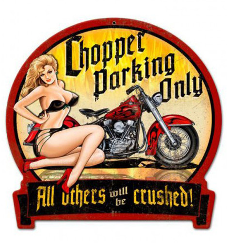 Chopper Parking Metal Sign 16 x 15 Inches