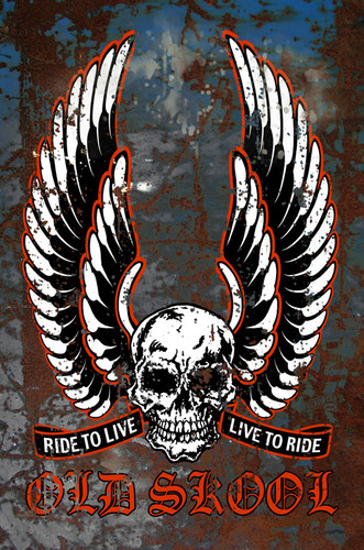 Old Skool Live To Ride Metal Sign 12 x 18 Inches