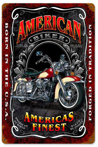 American Biker Metal Sign 12 x 18 Inches