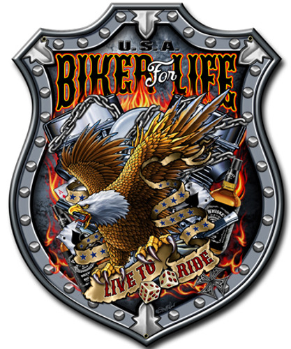Bikers For Life Metal Sign 10 x 14 Inches