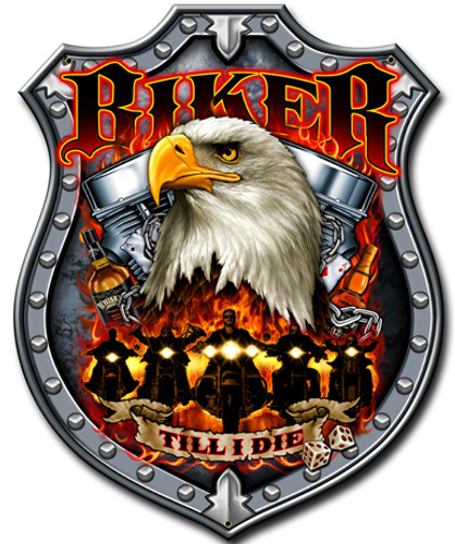 Biker Till I Die Metal Sign 10 x 14 Inches