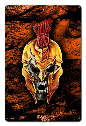 Spartan Skull Metal Sign 12 x 18 Inches