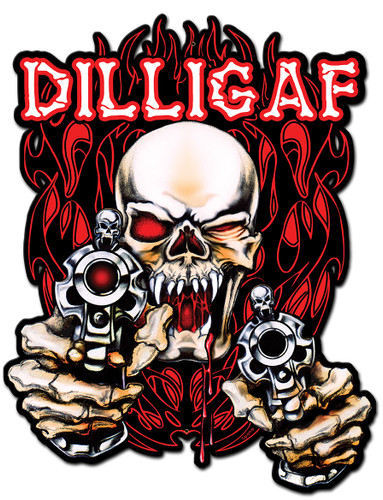 Skull Guns Flames Metal Sign 12 x 16 Inches