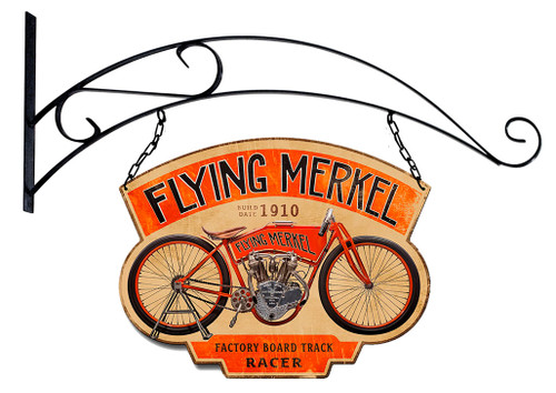 Double Sided Flying Merkel Metal Sign 17 x 13 Inches