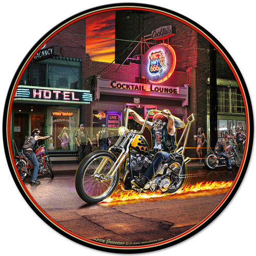 Highway To Hell Metal Sign 28 x 28 Inches