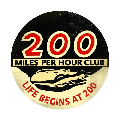 200 Mph Club Xxl Metal Sign 42 x 42 Inches