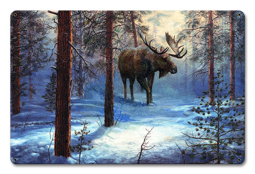 Moose In The Winter Metal Sign 18 x 12 Inches
