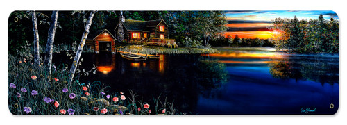 Summer Evening Metal Sign 8 x 24 Inches