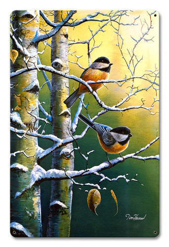 Winter Refuge Chickadees Metal Sign 12 x 18 Inches