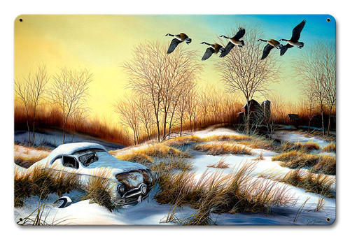Winter Retreat 2 Metal Sign 12 x 18 Inches