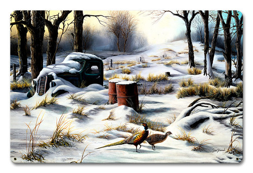 Winter Retreat Metal Sign 12 x 18 Inches