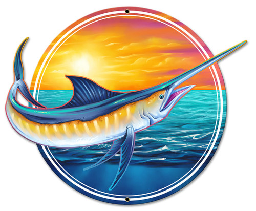 Marlin Metal Sign 18 x 14 Inches